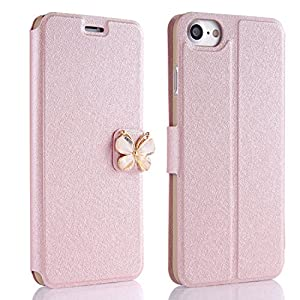 Glitzer Hülle Galaxy S7 Edge, Misteem Luxus Glitzersteine Klar Flash Schmetterling Strass Leder Flip Cover mit Standfunktion Magnetisch Kartenhalter für Samsung Galaxy S7 Edge (Rosygold)