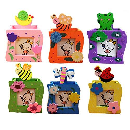 Treestar multifunzionale cartoon animal portapenne in legno per bambini con notes cartella per scrivania cancelleria finitura quadrato in scatola piccola decorazione ufficio (colore casuale)