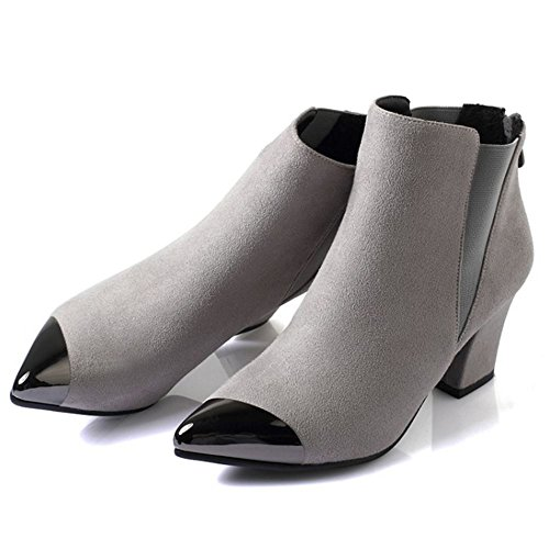 Apontado Taoffen Dedo Zíper Couro Cinza Bloco Senhoras Tornozelo De Sapatos Cinta Calcanhar Nobuck wvwSqUC