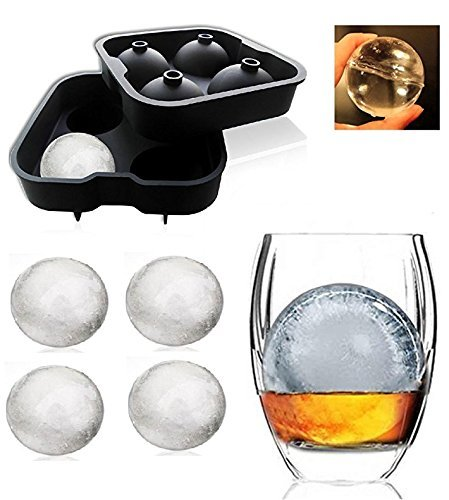 Styleys Flexible Silicone Spherical 4 Round Ball Ice Cube Tray Maker Mold With Lid Perfect Ice Spheres For Whiskey Lovers Cocktails, Non-Alcoholic Beverages