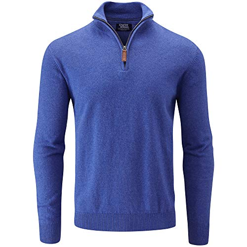 Charles Wilson Herren Basics Pullover mit Reißverschluss aus Baumwollmischung (Large, Blue)