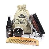 Watopi, set regalo per uomo per la cura della barba, cera da barba, forbici, spazzola da barba e pettine in legno per baffi, per la festa del papà, fidanzato, marito