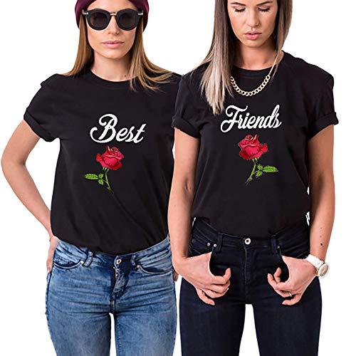 Best Friends T-Shirts Für Zwei Mädchen Damen Sister T-Shirts mit Aufdruck Rose BFF Shirts Sommer Kurzarms Baumwolle 2 Stücke BFF Geschenke