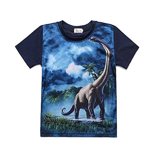 EULLA Kinder Jungen T-Shirt Baumwolle Cartoon Dinosaurier Kurzarm Shirt, 03-schwarzblau, 122 (Herstellergröße: 130) -