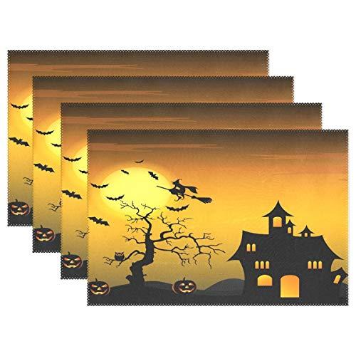 GOODSTHING Tischset, Halloween Night Witch Pumpkin Placemat Table Mat 12