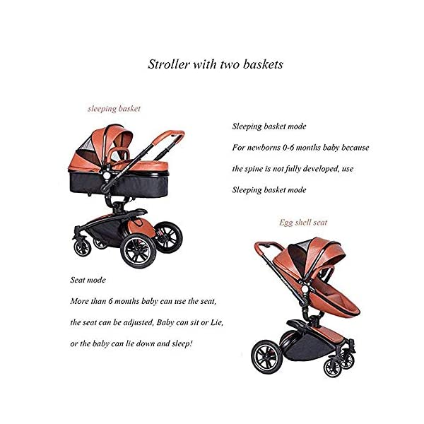 Yyqt Baby Carriage,with Buggy Top and Carrycot Travel System Feature New 2019, Stroller 2 in 1, it Includes Specifications: Eggshell Seat, Sleeping Basket, Red Seat Cushion (Color : Pink) Yyqt ♥360-degree swivel seat, high-quality leather, aluminum alloy frame (for safety reasons, the seat rotates 90 degrees and locks automatically.) If you want to turn again, turn the knob again) can be used as a cradle ♥Sports car seat: can be used in and against the direction of travel. The seat can easily be used in or against the direction of travel and a resting position in both directions is possible for a nap. ♥Cross-country stroller includes: red seat pad for babies, baby frame and eggshell chair, sleeping basket, car safety seat, 4