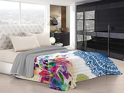 Italian bed linen ki-osa trapuntino estivo con stampa in digital a copertura totale, 100% microfibra, kio618 (multicolore), matrimoniale, 260 x 270 cm