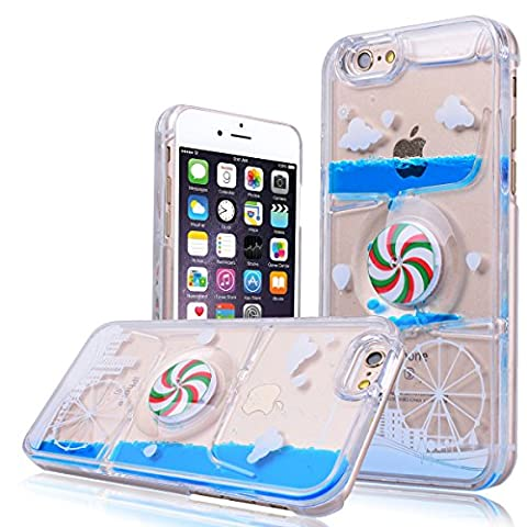 WE LOVE CASE iPhone 6S Plus Case, Premium Transparent Ultra Slim Thin PC Hard Back Clear Cover, Pattern Plastic Protective Shock Absorption Proof Drop Defend Anti Scratch Shell for iPhone 6 Plus iPhone 6S Plus - Sky Wheel Blue