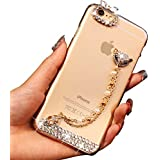 "Sunroyal® para Apple iphone 6/6S 4.7"" Funda PC Caja de Cristal Duro Claro Brillo de Bling Delgado Shell Transparente Dura Bling Delgada Caja Gel Cubierta Cristal Brillantes Diamante Cover Parachoques Protectora Case"