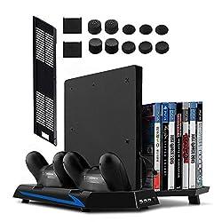 Younik PS4/PS4 Slim vertikaler Ständer mit eingebautem Lüfter, Dual Controller Ladestation, 14 Slots für Spielhüllen und 3-Port USB-Hub für all deine PS4/PS4 Slim