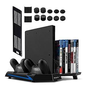 Younik PS4/PS4 Slim vertikaler Ständer mit eingebautem Lüfter, Dual Controller Ladestation, 14 Slots für Spielhüllen und…