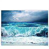 Leinwandbild 100x75 cm PREMIUM Leinwand Bild - Wandbild Kunstdruck Wanddeko Wand Canvas - BLUE SEASCAPE - Ozean Meer Wasser See Welle Sturm Blau Türkis - no. 100