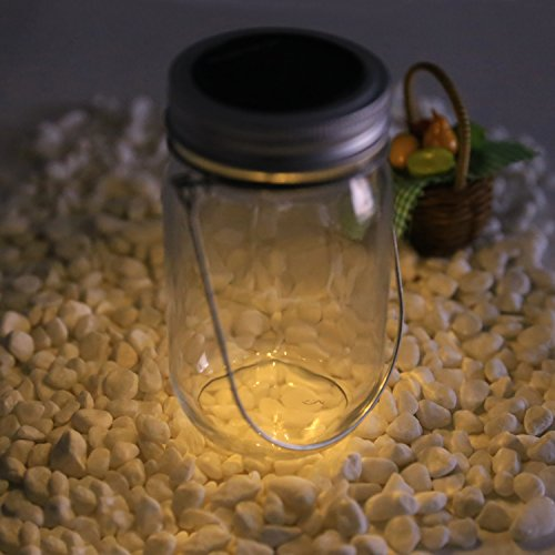 Preisvergleich Produktbild Solarglas Solarlampe Solar Laterne 4 LED Licht im Einmachglas Dekolampe Sun Jar Warmweiß