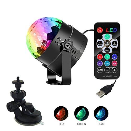 Diskokugel Disco Lichteffekte,KINGCOO RGB Sound Aktiviert LED DJ Strobe Lampe Bühnenbeleuchtung mit Fernbedienung Partylicht Ball Projektor für Schlafzimmer Halloween Weihnachten Hochzeit (USB standard)
