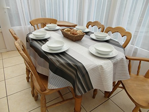 Table cloth 139,7 x 198,1 cm (1.4 x 2.0 m) ovale in pvc/vinile tovaglia – grigio & nero stripe design