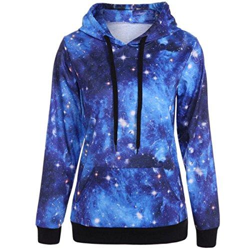 Autunno Stampa Digitale Tasche Di Canguro Coulisse Cielo Stellato Sfumature Blu Interstellare Hoodie Blue