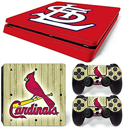 GoldenDeal Skin für PS4 Slim-Konsole und DualShock 4 Controller, Baseball MLB, PlayStation 4 Slim Louis Cardinals Video