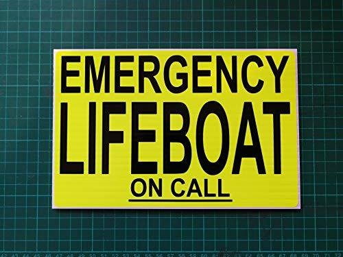 Notfall Rettungsboot On Call RNLI dashcard Küstenwache Rescue Dayglo gelb Aufkleber