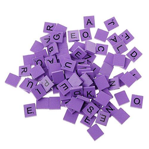 Haorw 100 Stück Scrabble Buchstaben Scrabblefliesen zum Spielen Scrabblesteine Ersatz Fliesen aus Holz für Handwerk Dekoration | Scrabblesersetzer mit Zahlenwerten (lila)