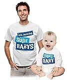 Partnerlook Ich Mache Süße Babys und Süßes Baby - Herren T-Shirt und Baby Body Mann Weiß XX-Large/Ba-Blau Weiß 62/68 (3-6M)