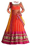 #9: Market Magic World Girl's Wear Net Embroided Semi Stitched Lehenga Choli (MMW-00415_Free Size_8-12 Year Age_Orange)