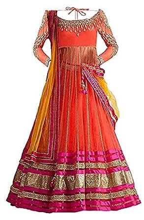Market Magic World Girl's Wear Net Embroided Semi Stitched Lehenga Choli (MMW-00415_Free Size_8-12 Year Age_Orange)