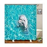 Daesar 3D Anti Schimmel Duschvorhang 90x180 Delphine Duschvorhang Waschbar aus Polyester-Stoff