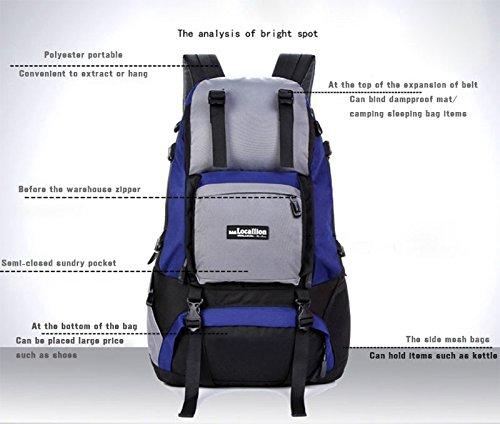 Padgene Outdoor Sport Rucksack 40L Wasserdicht Trekkingrucksäcke Wanderrucksäcke Backpack Reiserucksack (Blau) Gelb