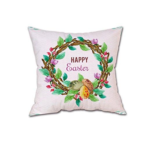 JMETRIC_Kissenbezug Ostern Kaninchen Hahn Karikatur Muster Kopfkissenbezug Festlicher Dekoration 40 Modelle Verfügbar (B1)