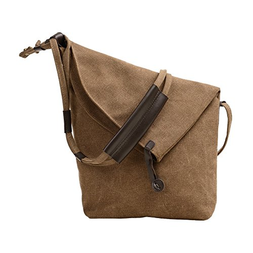 VRIKOO Retro Canvas Crossbody Hobo Bag Unisex Vintage Satchel Messenger Shoulder Bags for Working Shopping School (Brown) -