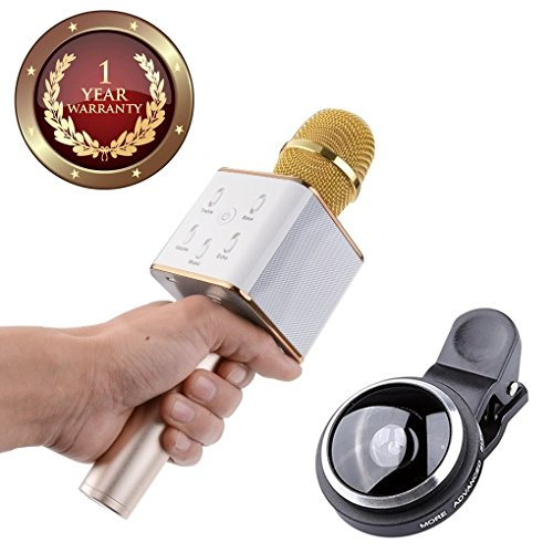 Elevea 235 Degree Fish Eye Camera Lens & Portable Handheld Bluetooth Condenser Mic And Speaker Suitable For all Android/iOS Devices-Assorted colour (1 year Warranty)