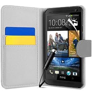 Supergets® Schlichte Einfarbige Hülle für HTC One Mini (M4) Brieftasche in Lederoptik, Schale mit Karteneinschub, Etui, Buchstil Geldbörse, Mit Schutzfolie, Mini-Eingabestift