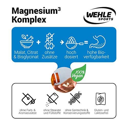 Premium Magnesium Komplex – 2250mg davon 375mg elementares Magnesium Hochdosiert pro Tagesdosis – 180 Vegane Kapseln – Magnesiumbisglycinat Magnesiumcitrat Magnesiummalat - 4