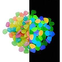 Lote de 100piedras decorativas guijarros brilla en la oscuridad Pebbles adoquines luminoso para decoración de acuario Fish Tank Grava entrada caminos y jardín decoración, Colorful
