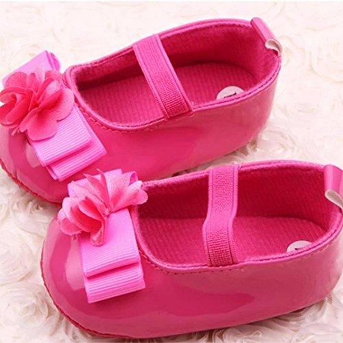 Hunpta Neue Baby jungen Mädchen Lauflernschuhe Baby Kinder Babyschuhe Mädchen Blumen Bogen weichen Sohle kinderschuhe (13, Weiß) Hot Pink