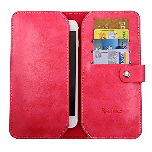 Bandmax Handy Hülle Bequem Umweltfreundliche PU Leder Tasche mit Kartenfächer Stoßfest Kratzfest Schutzhülle Bumper Case Cover für iPhone 7 Plus(Braun) Tiefpink