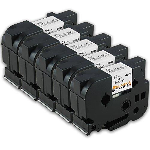 Preisvergleich Produktbild 5x Schriftband , Schriftbandkassette für Brother TZ 251 Schwarz 24mm P-Touch