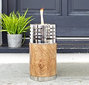 Garden Oil Torch - Beautiful Natural Wood and Stainless Steel - Outdoor Table or Patio Oil Lamp - Garden Path Lighting - Large - 16 x 16 x 31cm from Za Za Homes