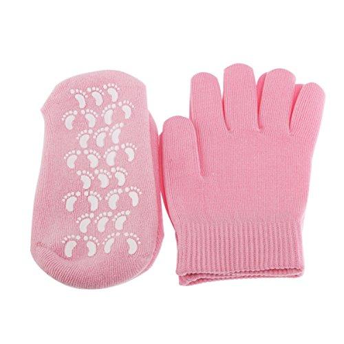 Tinksky Spa de Beauté Unisexe Magique Adoucir Blanchissant Hydratant Traitement Skincare Gel Chaussettes Gants Set - Taille Libre (Rose)