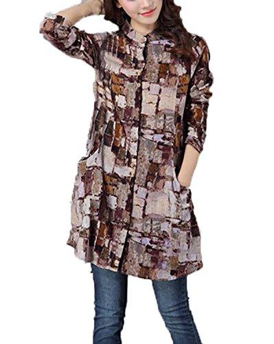 ZANZEA Femme Manches Longues Draps en Coton Imprimé Chemisier en Vrac Chemise Caftan Tunique brown