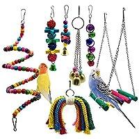 Meiso Set di 7 giocattoli per uccelli, da beccare e da appendere, con piedistallo con campanelle, per pappagalli, inseparabili, gufi, parrocchetti, ara, fringuelli e altri uccelli piccoli e medi