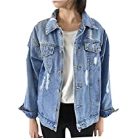 mujer chaqueta vaquera rotos otoño invierno talla grande Sannysis mujeres chaquetas jacket de mezclilla abrigo denim jacket baratos largo jean outwear color sólido (M)