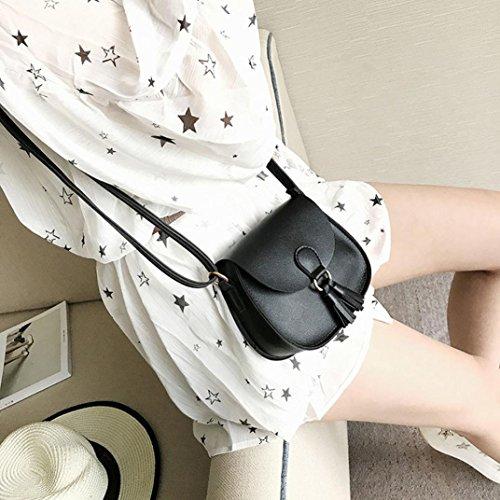 BZLine® Frauen Handtaschen Troddel Leder Kreuz Körper Schultertaschen Umhängetasche Schwarz