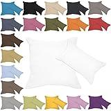Qool24 Leinen-Optik Kissenbezug mit Reißverschluss Kissenhülle Kissenbezüge 23 Farben und 19 Größen Weiß 50x70 cm