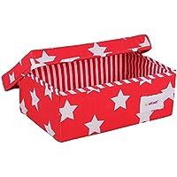 Preisvergleich für Minene 1231 Aufbewahrung Box Klein, Rot mit weißen Sternen, 32 x 21 x 12 cm