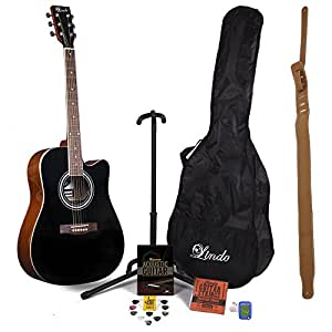 Lindo Black 42C Acoustic Guitar and Full Accessory Pack (Gig Bag, Stand, Strings, Strap, 10 Plectrums, Tuition DVD, Clip-on Tuner)