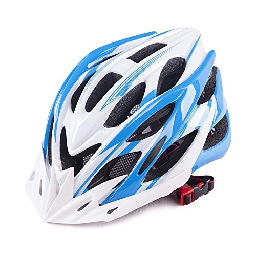 TOYM UK Fahrrad Fahrrad Einteiliger Fahrradhelm, männlich und weiblich, Einheitsgröße 57-63cm ( Farbe : White+blue )