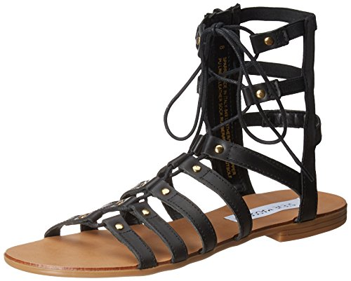 Steve Madden Women's Sparra Black Leather Fashion Sandals - 6 UK