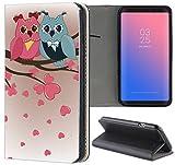 Handyhülle für Samsung Galaxy S4 Mini Premium Smart Einseitig Flipcover Flip Case Hülle Samsung S4 Mini i9190 Motiv (1435 Eule Eulen Blau Pink Cartoon)