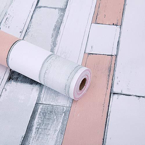Glow4u Selbstklebendes Vinyl Holz Muster Kontakt Papier Abnehmbarer schälen und Stick Tapete für Küche Schränke Regal Duett Tisch Wand Aufkleber 45x 500,4cm (Bausteine Japanische)